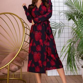 Платье NOBILITAS 42 - 48 красное софт принт (арт. 20005)