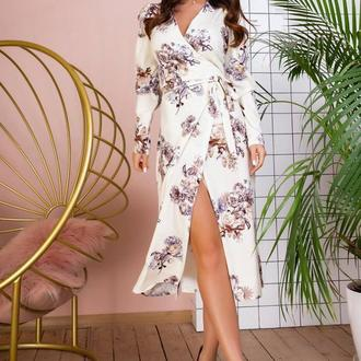 Платье NOBILITAS 42 - 48 белое софт принт (арт. 20005)