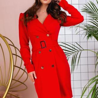 Платье с поясом NOBILITAS 42 - 48 красное костюмная ткань (арт. 20004/2)