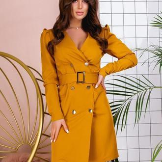 Платье с поясом NOBILITAS 42 - 48 желтое костюмная ткань (арт. 20004/2)