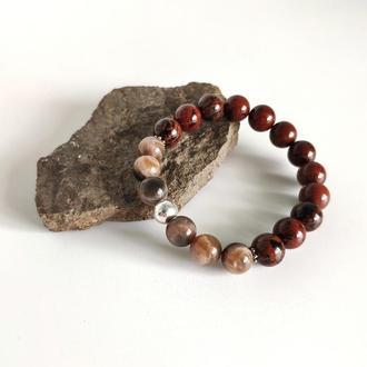 Браслет из махагонового обсидиана и солнечного камня с серебром, Браслет на резинке, Подарок девушке