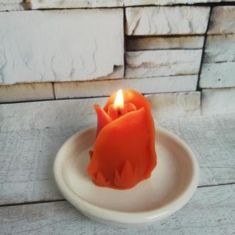 Свеча Роза из натурального пчелиного воска