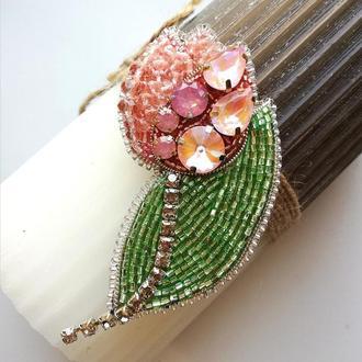 Брошь Розовый тюльпан опаловый