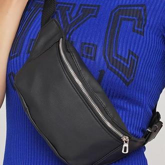 Женская черная бананка, сумка на пояс/плечо