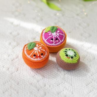 1 шт. игрушка антистресс апельсин, грейпфрут, киви , вязаный фрукт крючком