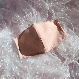 """Бежевая """"Пудровая""""  многоразовая маска для лица со сменным вкладышем (3 слоя марли)"""