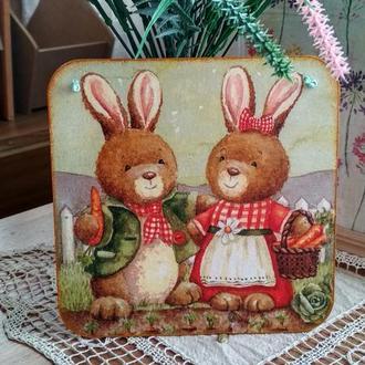 """Панно декоративное """"Веселые кролики"""", декор Пасха, пасхальные кролики"""