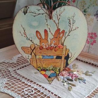 """Подвеска-сердце """"Веселые кролики"""", подарок на Пасху, пасхальные кролики"""