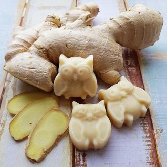 Натуральное мыло «с нуля» «Имбирь и мед», с молотым имбирем