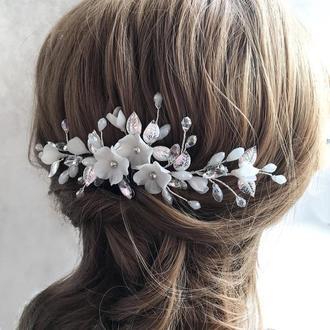 Свадебный гребешок в прическу с цветами