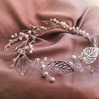 Свадебный веночек в прическу с листиками
