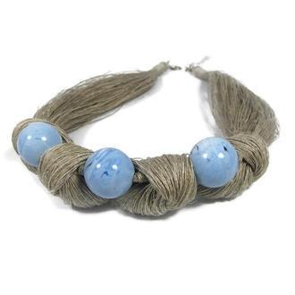Голубы бусы, голубое украшение, украшение из ниток, эко украшение,  натуральные бусы
