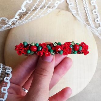 Червоно зелена шпилька для волосся з квітами, прикраси для волосся, подарунок дівчині