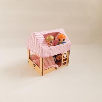 Кровать-домик для кукол до 15 см