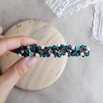 Бирюзовая заколка для волос с цветами, украшения для волос, подарок девушке