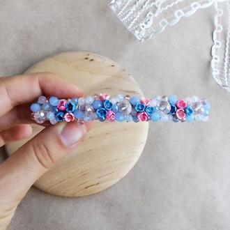 Голубо розовая заколка для волос с цветами, украшения для волос, подарок девушке