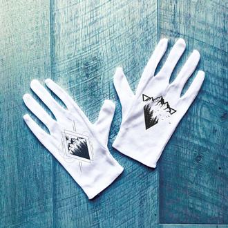 Перчатки хлопковые белые с принтом