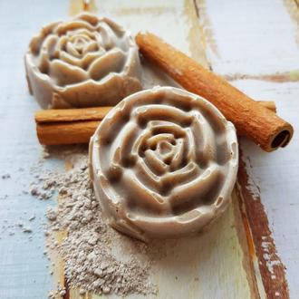 Натуральное мыло - скраб «с нуля» «Корица и глина»