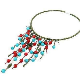Бохо украшение бирюзового и красного цвета, летнее украшение