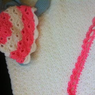 Вязаный плед, одеяло, покрывало для девочки, с шапочкой