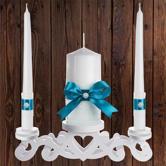 """Набор садебных свечей """"Семейный очаг"""", бирюзовый цвет, арт. CAND-13"""