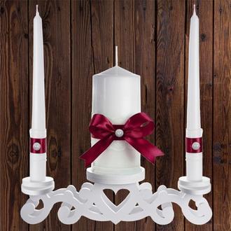 """Набор садебных свечей """"Семейный очаг"""", бордовый цвет, арт. CAND-17"""