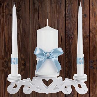 """Набор садебных свечей """"Семейный очаг"""", голубой цвет, арт. CAND-18"""