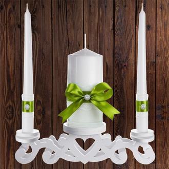 """Набор садебных свечей """"Семейный очаг"""", оливковый цвет, арт. CAND-23"""