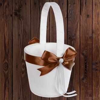 Корзинка для лепестков с коричневым бантом, арт. 0797-24