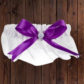 Подвязка, фиолетовый бант, арт. 0798-29