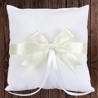 Свадебная подушечка для колец, белый бант, арт. 0799-11