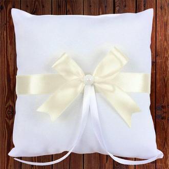 Свадебная подушечка для колец, бежевый бант, арт. 0799-11