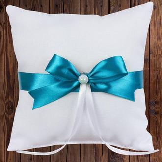 Свадебная подушечка для колец, бирюзовый бант, арт. 0799-13