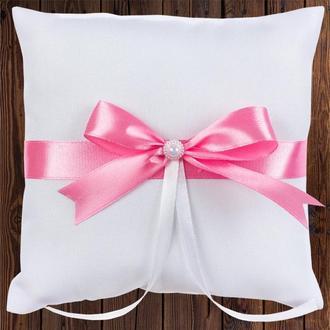 Свадебная подушечка для колец, розовый бант, арт. 0799-15