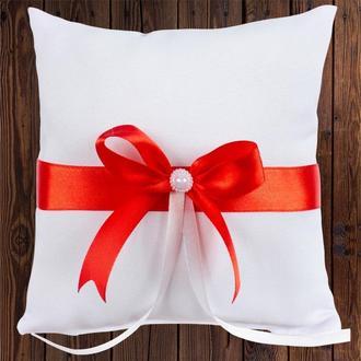 Свадебная подушечка для колец, красный бант, арт. 0799-16