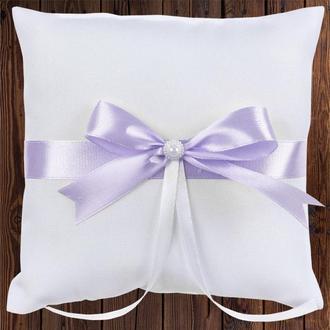Свадебная подушечка для колец, лиловый бант, арт. 0799-19