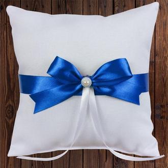 Свадебная подушечка для колец, синий бант, арт. 0799-21