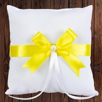Свадебная подушечка для колец, желтый бант, арт. 0799-22