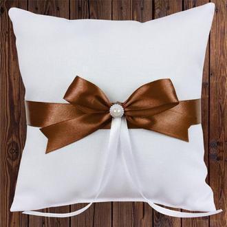 Свадебная подушечка для колец, коричневый бант, арт. 0799-24