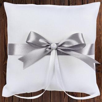 Свадебная подушечка для колец, серебристый бант, арт. 0799-26