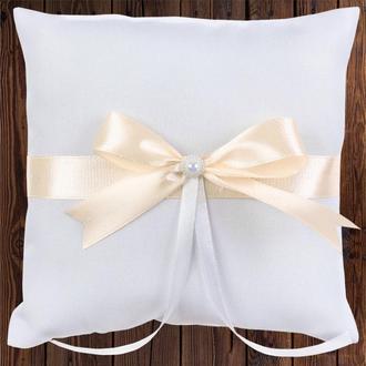 Свадебная подушечка для колец, персиковый бант, арт. 0799-28
