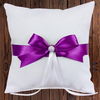 Свадебная подушечка для колец, фиолетовый бант, арт. 0799-29