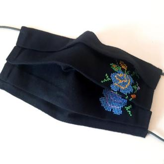 Многоразовая черная хлопковая маска с вышивкой и зажимом для носа
