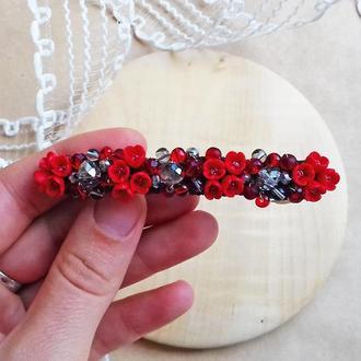 Красная заколка для волос с цветами, украшения для волос, подарок девушке