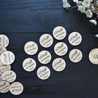 Свадебные фишки с инициалами молодых и знак бесконечности, подарок гостям на свадьбу