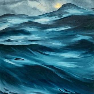 """Картина інтер'єрна маслом """"В обіймах океану"""" 34х58 см"""