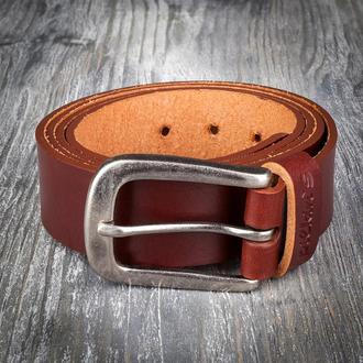 Коричневый кожаный широкий мужской ремень