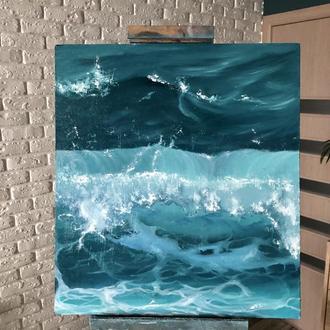 "Картина маслом в интерьер ""Лазурь океана"" 45х50 см"