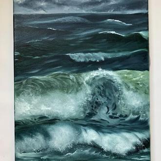 """Картина маслом на холсте """"Бурные волны и небеса"""" 35х50 см"""