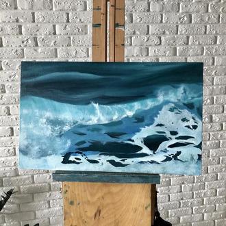 """Картина маслом на холсте """"Пенные горизонты моря"""" 30х50 см"""